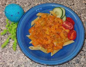 Pasta met Garnalen, Salami en Cheddarkaas a la Sandra