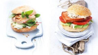 Culinaire garnalen-burger en German-style gehaktbrood burger