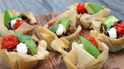 Mini-taco bites met filodeeg