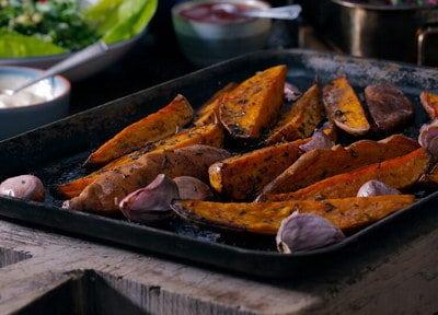 Pikante zoete aardappel uit de oven