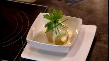 Aardappel gevuld met Zeebrugse garnalen