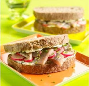 Boerensandwich met haring en radijs