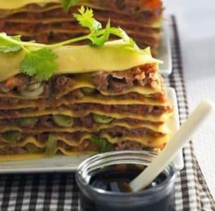 Chinese lasagne met gehakt en garnalen