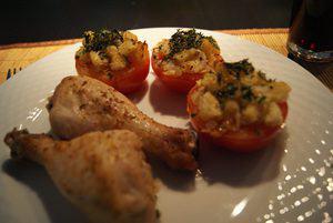 Gebraden kipdrumsticks met Provençaalse tomaten