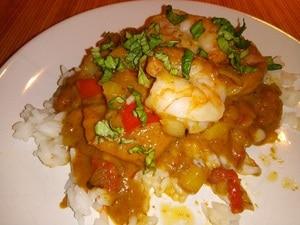 Kokos curry met garnalen