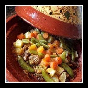 Lamsbout met groenten uit de Tajine
